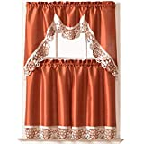 GOHD Golden Ocean Home Decor Dreamland Kitchen Curtain Set Swag Valance and Tier Set. Nice Matching Color Embroidery on Border with cutworks (Rust)