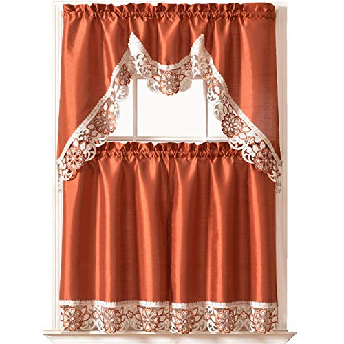 Dreamland Kitchen Curtain Set Swag Valance and Tier Set. Nice Matching Color Embroidery on Border with cutworks (Rust)