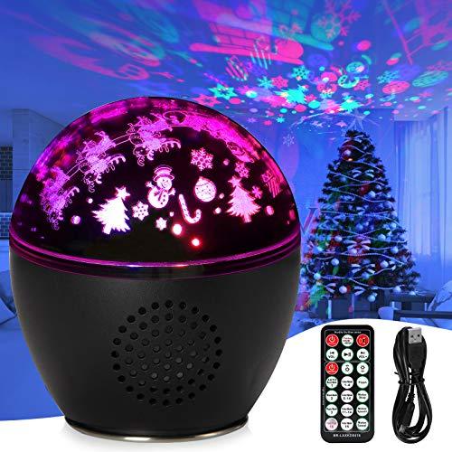 Sternenhimmel Projektor Lampe,Stimmungslichter Musik Nachtlicht Lampe 360°Rotation 16 Romantische Licht, LED Nachtlichter mit Timing Schlaflicht Perfektes für Kinder, Geburtstage, Halloween(schwarz)