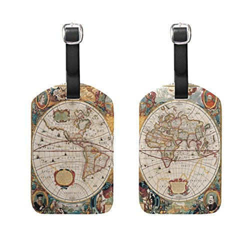ALAZA Vintage World Map Luggage Tags American Flag Suitcase Baggage Labels 2pcs