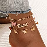 Dresbe Boho Layered Anklet Gold Butterfly Anklets Beach Crystal Ankle Bracelet Angel Pendant Foot Jewelry Chain for Women and Girls