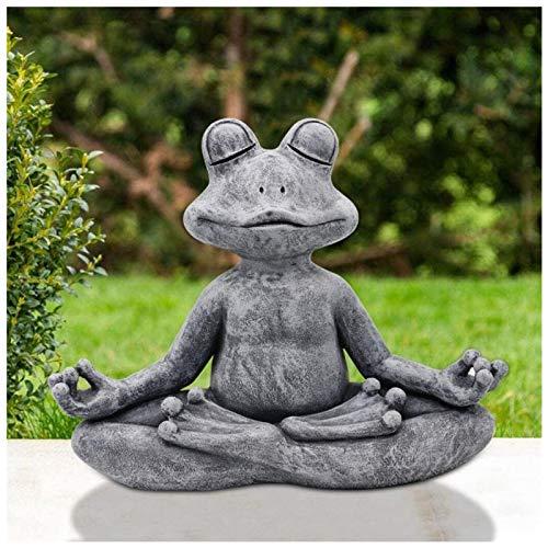 Garden Statue, Garden Meditation Animal Statue Decoration, Zen Cat Buddha Rabbit Buddha Frog Buddha Dog Buddha Statue, Sculpture Decoration for Patio Yard Lawn Porch Garden. (B - Frog Buddha)