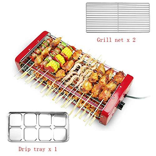 Baibao Smokeless Griddle Tisch Elektrische Innen 2 Kochzonen mit Interchanable Nonstick Net, mit regelbarer Temperatur, Double-Layer-Extra Large Oberfläche, Fettauffangschale