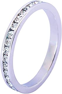 [Muses Art Design] [Sterling Silver] SS925 Round Eternity Band Ring (Channel Set) with Swarovski Crystal Birthstone