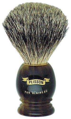 Plissons 5551 Rasierpinsel, hornförmiger Griff und reine graue Borsten
