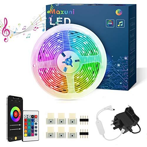 Tira LED TV 5M-Maxuni Luces LED TV RGB alimentada por USB con micrófono incorporado para TV de 32-65 pulgadas, tira de iluminación de sincronización de música USB con buletooth y control remoto (10M)