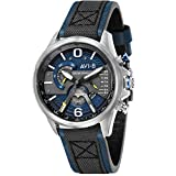 AVI-8 Men's Hawker Harrier II 43mm Blue Leather Band Quartz Watch AV-4056-01