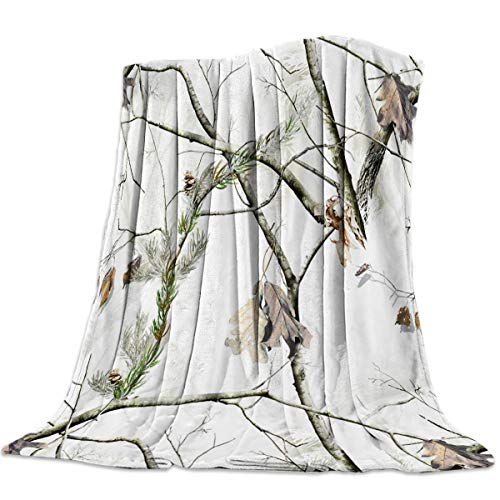 FortuneHouse8 Flannel Fleece Blanket White Realtree Camo Camouflage Super Soft Warm Cozy Bed Couch or Car Throw Blanket for Children Adult Travel All Reason 40x50inch