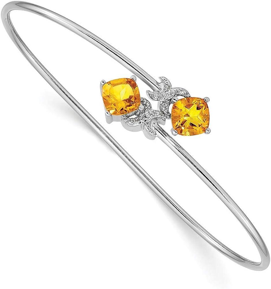 Solid 14k White Gold 0.03ct Diamond and 2.2ct Citrine Yellow November Gemstone Flexible Bangle Cuff Bracelet 7