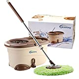 oshang EasyWring Spin Mop and Bucket - Hand-Free Wringing Floor Cleaning Mop - 2 Washable & Reusable Microfiber Mop Heads Included - Wet or Dry Usage on Hardwood, Laminate, Tile, Stone