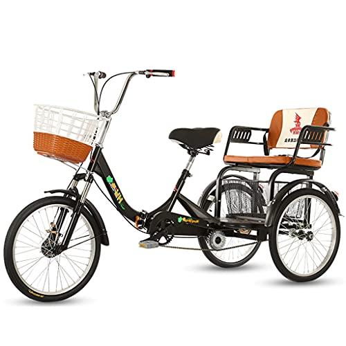 Triciclo per Adulti Tricicli Adulti Tre Ruote Da 20 Pollici Tricicli Per Adulti Con Cesto Della Spesa Trike Bici Bicicletta Per Lo Shopping Con Strumenti Di Installazione 3 Bicicletta A R(Color:black)