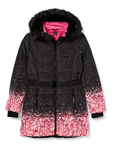 Desigual Girls CHAQ_AGUACATE Quilted Jacket, Black, 11/12