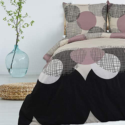 Bettwäsche 2 TLG 155x220 cm Deckenbezug 80x80 cm Kissenbezug 100% Baumwolle Renforce Reißverschluss Bettwäscheset Bettwäschebezug Bettwäscheüberzug, Muster