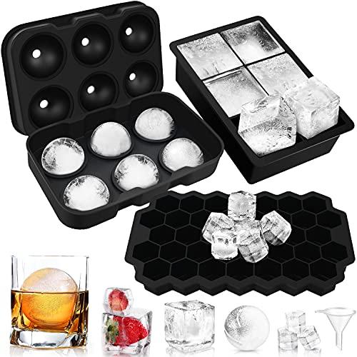 Lenski Eiswürfelform, 3 Stück Eiswürfelform Silikon Eiswürfelform mit Deckel Eiswürfelform Groß, LFGB Zertifiziert Eiswürfelformen, Familie, Bier, Whisky, Fruchteiswürfel Partys 6+6+37 Fach