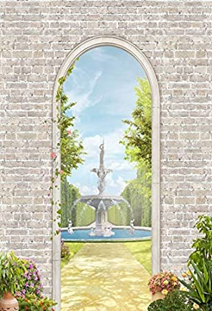 Summer Scenery Backdrop 3x5ft Ancient Arch Vinyl Photography Background Gray Brick Wall Fountain European Style Blossom Flowers Green Plants Trees Wedding Holiday Decor Photo Prop Poster
