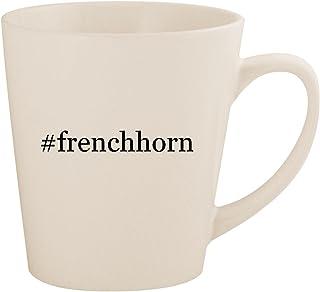 #frenchhorn - White Hashtag 12oz Ceramic Latte Mug Cup