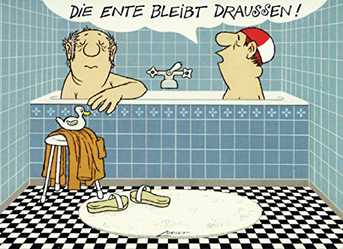 Postkarte A6 • 052 ''Ente bleibt draußen'' von Inkognito • Künstler: LORIOT DESIGN GMBH © Loriot • Satire