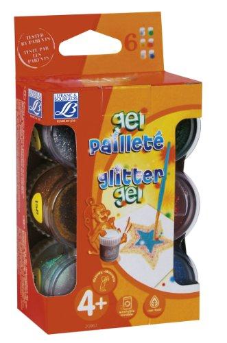 Lefranc & Bourgeois 720067 Kinder - Glitter Tempera Set, mit farbigen Glitterpartikeln, 6 Glitter Farben in 22 ml Töpfe