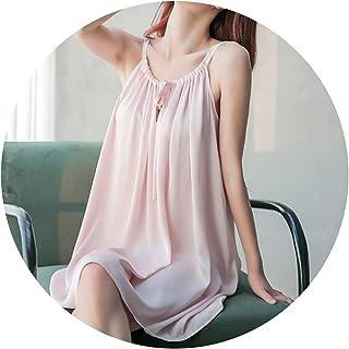بيجامات نسائية بيجامات صيفية مثيرة فساتين نوم بحمالات متوسطة الطول بيجاما حريرية فضفاضة ملابس منزلية
