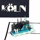 Pop Up Karte'Köln - Panorama', 3D Grußkarte Kölner Dom & Skyline, Köln Souvenir, Reisegutschein Städtetrip Köln, PopUp Karte mit Umschlag