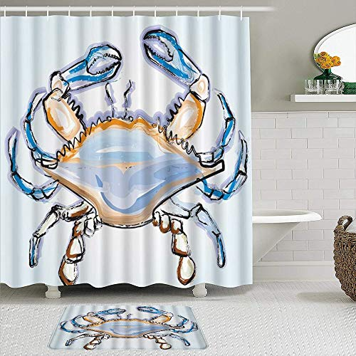 BEITUOLA Shower Curtain Sets with Non-Slip Rugs,Crab Colorful Vector Light Blue Background, Bath mat + Shower Curtain with 12 Hooks