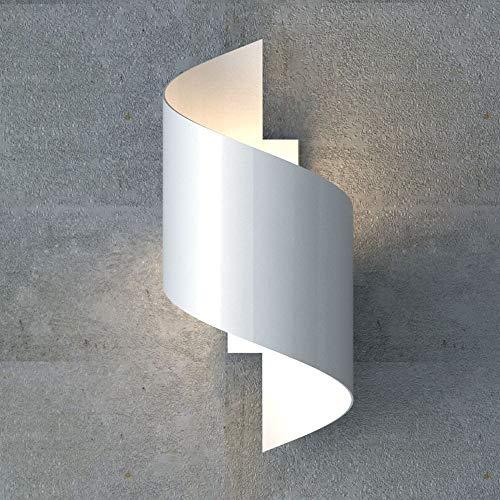 famlights Wandleuchte Tessa aus Metall, Weiß, G9, 20W | Wandbeleuchtung für Flur, Eingangsbereich, Treppenhaus | gedrehte Designerlampe | Designer Wohnzimmerleuchte | austauschbares Leuchtmittel
