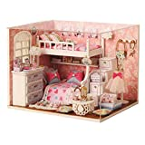 NSWMHDQ Modelo Juguete- Miniatura Escala Casa de muñecas con Muebles, Bricolaje casa de muñecas Hecha a Mano Mini apartamento Modelo Plus Kit Protector contra el Polvo