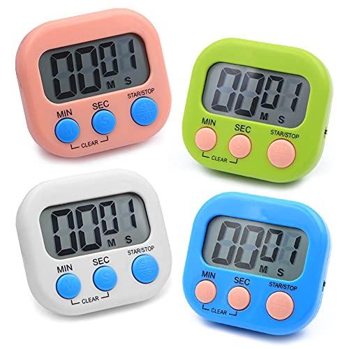 Temporizador Cocina Minuto, 4 piezas Cronómetro Deportivo de Cuenta Atras,Reloj Cocina Digital de 4 Colores Con Alarma...