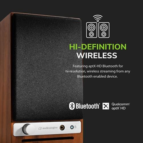 Altavoz Audioengine B2 Bluetooth | Altavoz Inalámbrico Portátil para Uso en el Hogar | BT y Entradas AUX de 3,5 mm | Cables Incluidos (Madera)