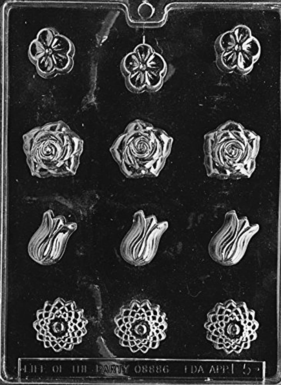 CybrTrayd Fruits and Vegetables Soap Mold, Assorted Flowers with Exclusive Cybrtrayd Copyrighted Soap Molding Instructions