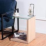GOLDFAN 2 Livelli di Legno Tavolino Tavolo da Salotto con Vetro Mini Tavolino Moderno e Minimalista Mobile Laterale Divano,Marrone Chiaro