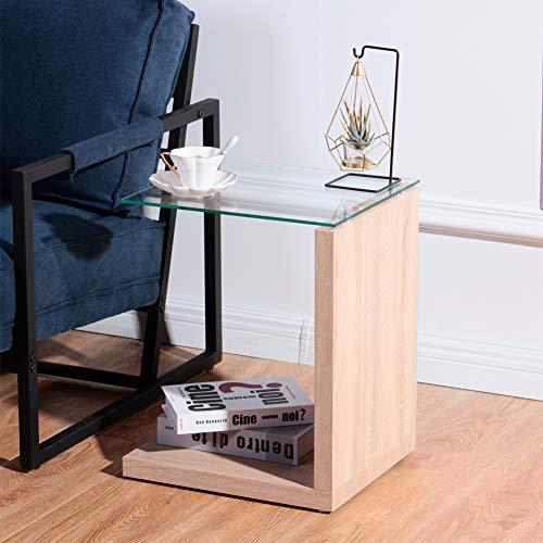 GOLDFAN Rectangular Moderna Pequeña Mesilla de Noche Mesa Auxiliar de Vidrio de Sofá Adecuado para Dormitorio Sala de Estar Oficina, Marrón Claro