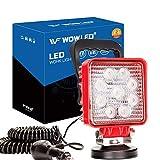 WF Magnetic Work Light, Magnet Base Mount Bracket, Cigarette Lighter Powered, LED Work Light, 27W Portable Flood Beam Lamp for Truck Tractor Trailer SUV Off-road Emergency Repairs (Square Red)