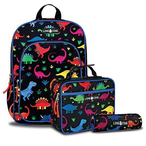 LONECONE Kids' 3-Piece Back to School Kit - Backpack, Lunchbox & Pencil Case, Fossil Friends