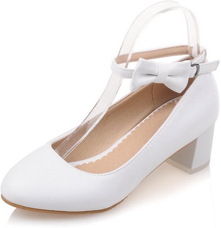 BalaMasa Ladies Bows Chunky Heels Buckle Round-Toe Urethane Pumps shoes