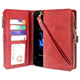 ZTE Blade Z Max Case, ZTE ZMax Pro 2 Case, ZTE Sequoia Case, Linkertech Premium Leather Flip Zipper Wallet Case Cover with Card Holder and Wrist Strap for ZTE Z982 (Zipper - Red)