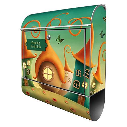 Banjado Design Briefkasten personalisiert mit Motiv Zwergenhausen | Stahl pulverbeschichtet mit Zeitungsrolle | Größe 39x47x14cm, 2 Schlüssel, A4 Einwurf, inkl. Montagematerial