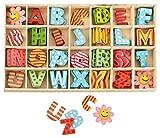 Kleenes Traumhandel - Caja de letras de madera multicolor, 2,5 cm de alto, 4 unidades de cada letra...