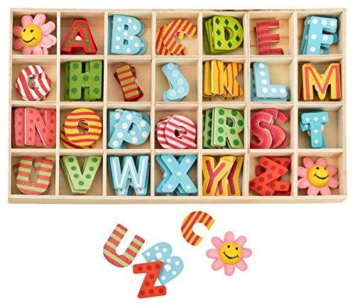 Kleenes Traumhandel - Caja de letras de madera multicolor, 2,5 cm de alto, 4 unidades de cada letra de madera con puntos adhesivos, 108 unidades