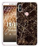Sunrive Für Xiaomi Redmi S2 Hülle Silikon, Transparent Handyhülle Luftkissen Schutzhülle Etui Hülle für Xiaomi Redmi S2(TPU Marmor Schwarzer)+Gratis Universal Eingabestift