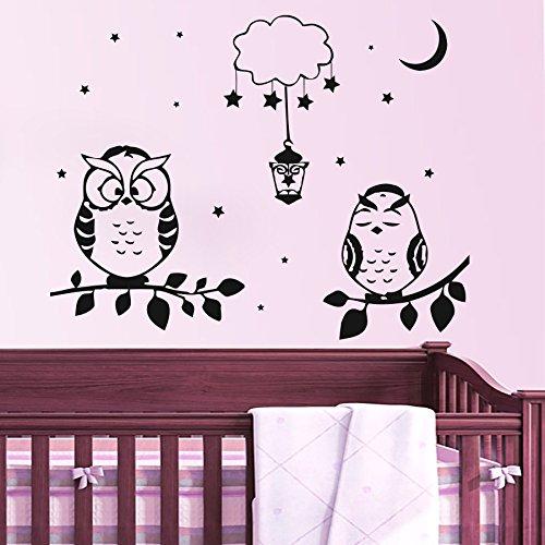 Wandaufkleber Aufkleber Vinyl Aufkleber Eule Zweig Mond Wolken Laterne Stern Kinderzimmer Schlafzimmer Spielzimmer Home Decor Art Wandmalereien MN157