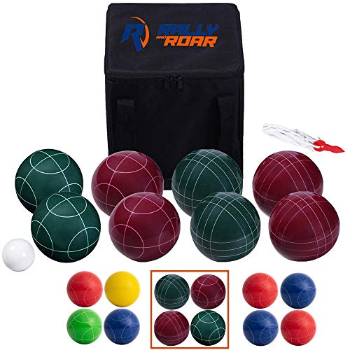 Bocce Ball Game Set for Adults, Families – 90 mm - Complete Bocce Yard and Lawn Games with Carrying and Storage Case by Rally and Roar - Fun Outdoor, Backyard, Family, Beach Game