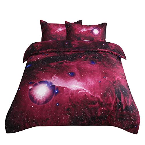 sourcing map 3D Printed Sky Stars Universe Night Pattern Duvet Cover Set Comforter Cover Pillowcases Set Single Queen Size Rosso Queen Size