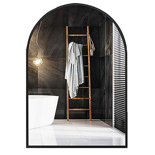 Y&J Wall Mirror Bathroom, Makeup Mirror Large, Shaving Mirror for Shower, Arched Decorative Mirrors, Metal Iron Frame, for Bedroom, Living Room, Hotel, Beauty Salon