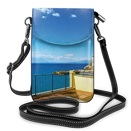 Women Mini Purse Crossbody of Cell Phone,Camogli Building Sea Lamp and Balcony Tourist Spot In Ligury Italy Print