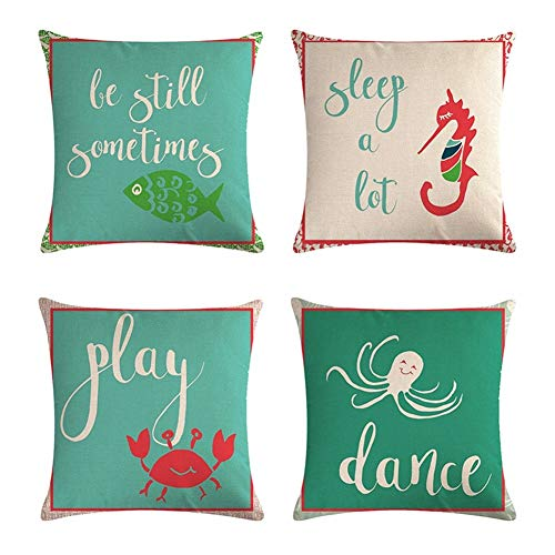 Fashion Cushions Linen Throw Pillow, Square Christmas Cushion Filled Pp Cotton 18 X 18 Inches Bed Sofa Waist Cushion Home Decor Set of 4pcs Home Decoration (Color : D, Size : 45cm x 45cm)