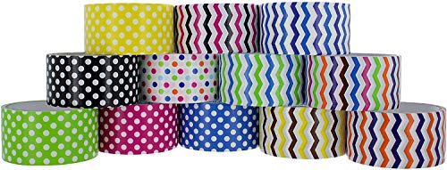 RamPro Chevron & Polka Dot Styles Heavy-Duty Duct Tape | Assorted Colors Pack of 24 Rolls, 1.88-inch x 5 Yard.
