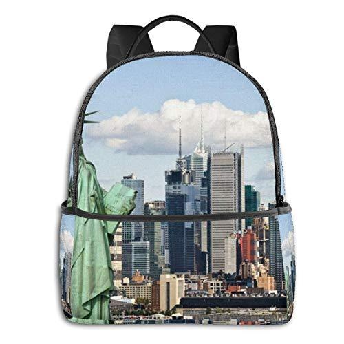 Kinderrucksäcke,New Yorker Freiheitsstatue Im NYC-Rucksack, Beeindruckende Kinder-Büchertaschen Für Sportliches Wandern Sportlich,37cm(H) x30.5cm(W)
