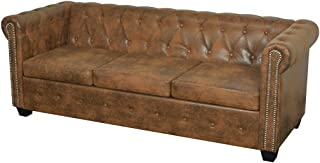 vidaXL Divano Comodo Chersterfield a 3 Posti in Pelle Artificiale Marrone Sofa