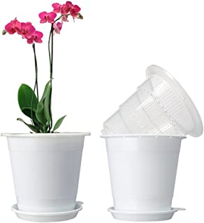 Mkono Plastic Planter Pot,Orchid Pots with Holes Mesh Net Orchid Planter 5.3 Inch White Flower Pots with Drainage Saucer Trays for Home Decoration 2 Inner & 2 Outer Planters Included